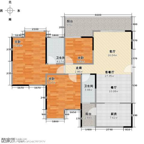 中海金沙苑3室1厅2卫1厨99.87㎡户型图