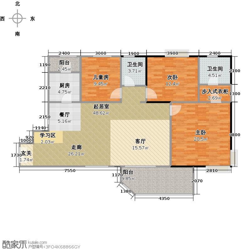 联华花园城126.98㎡户型3室2卫1厨