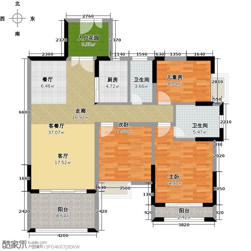中惠香樟绿洲130.00㎡45栋户型3室1厅2卫1厨