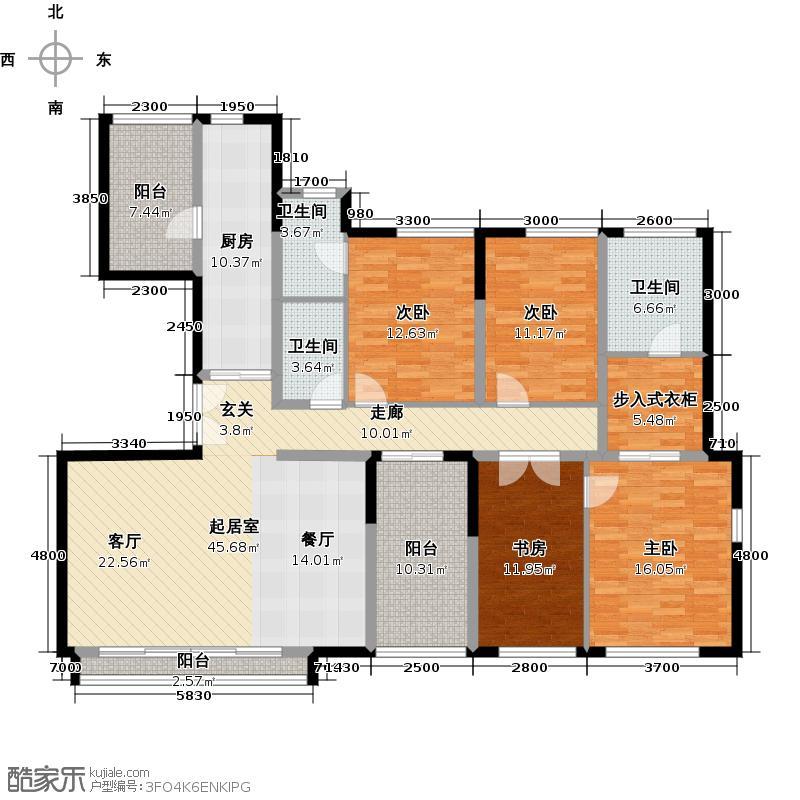 万科金色梦想168.81㎡万科翡丽山29栋01-02单元B标准层3室户型4室3卫1厨