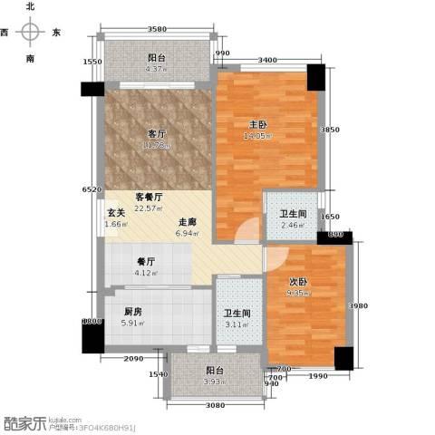 虎门地标2室1厅2卫1厨93.00㎡户型图