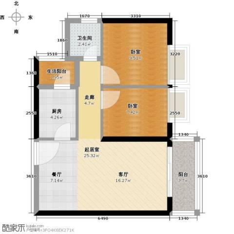 中惠丽阳时代二期1卫1厨79.00㎡户型图