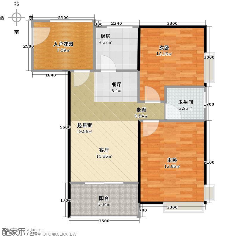 东海阳光67.27㎡户型2室1卫1厨