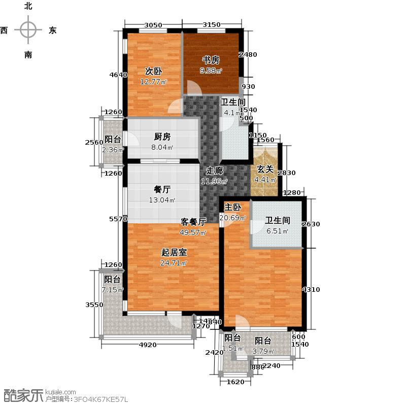 北京华侨城169.00㎡A1-3号楼A户型3室1厅2卫1厨