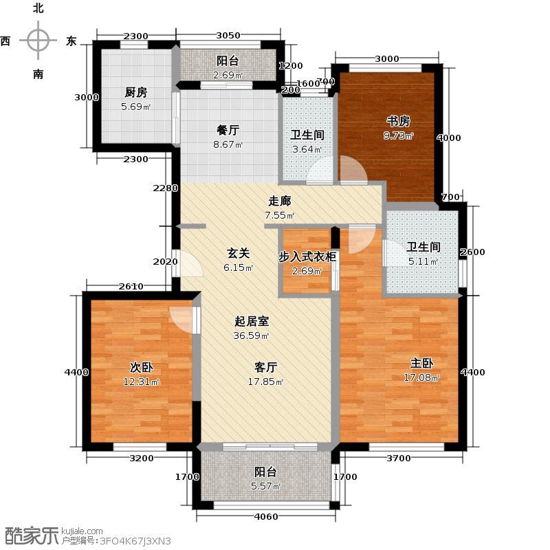 万科金色梦想115.34㎡万科翡丽山32-33栋01-02单元A标准层3室户型3室2卫1厨