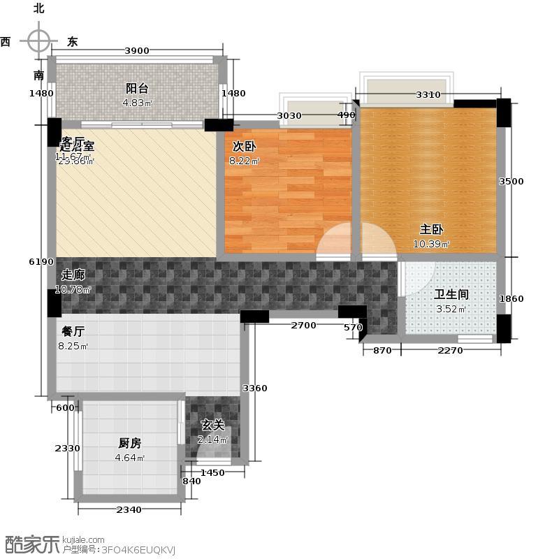 汇景御泉香山69.11㎡户型2室1卫1厨