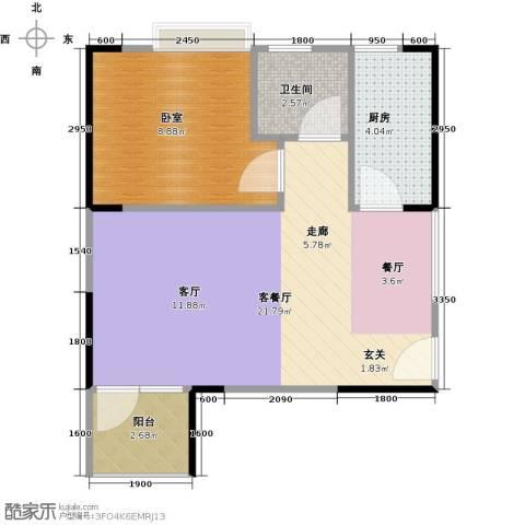 中惠香樟半岛1厅1卫1厨53.00㎡户型图