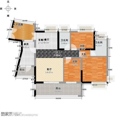 香樟国际3室1厅2卫1厨130.00㎡户型图