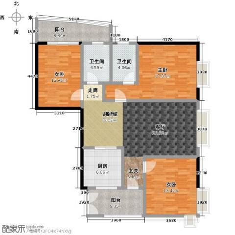 翠屏・瀚宇贵都二期3室0厅2卫1厨120.00㎡户型图