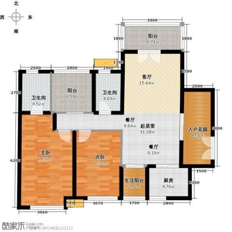 南沙境界・藏峰2室0厅2卫1厨115.00㎡户型图