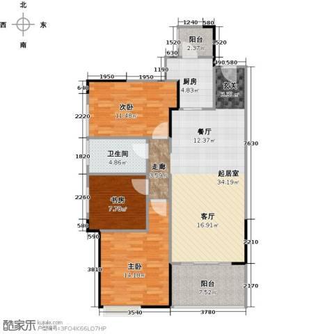 中信凯旋国际3室0厅1卫1厨118.00㎡户型图