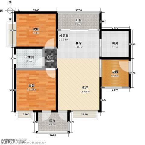 深业欧景城2室0厅1卫1厨97.00㎡户型图