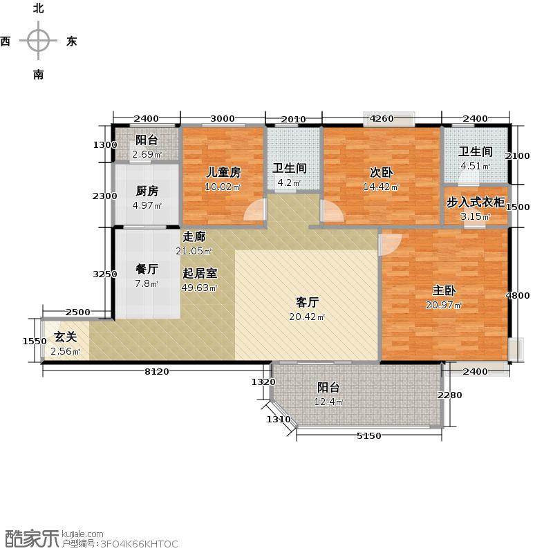 联华花园城135.40㎡户型3室2卫1厨