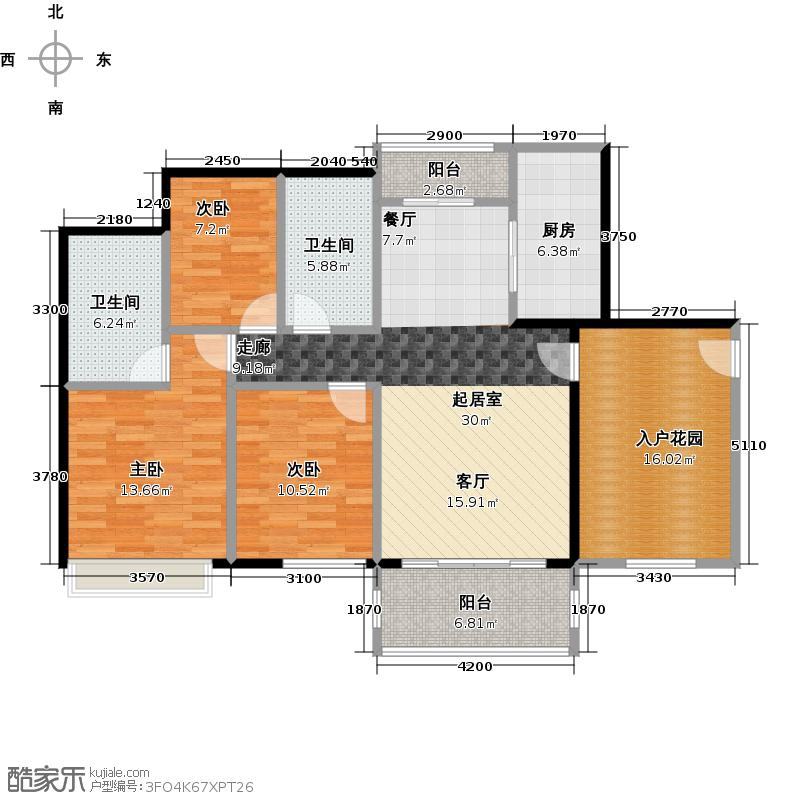 祥利上城117.94㎡1栋03B户型3室2卫1厨