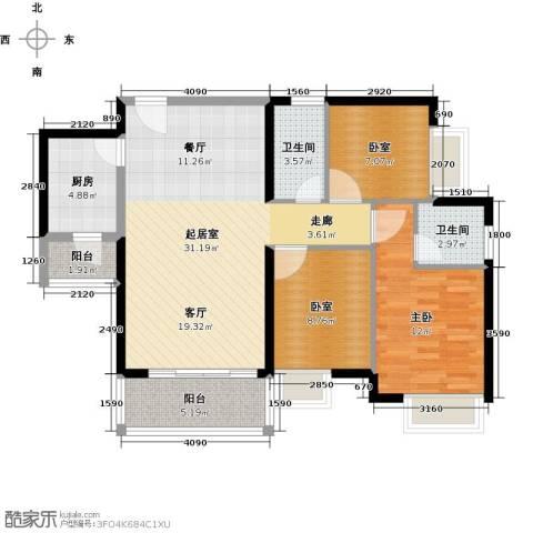 中惠丽阳时代二期1室0厅2卫1厨111.00㎡户型图