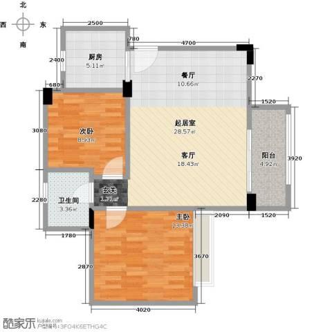 汇景御泉香山2室0厅1卫1厨90.00㎡户型图