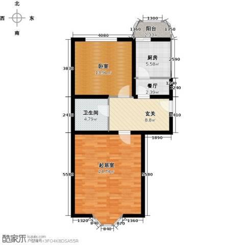 昊腾花园1厅1卫1厨72.00㎡户型图
