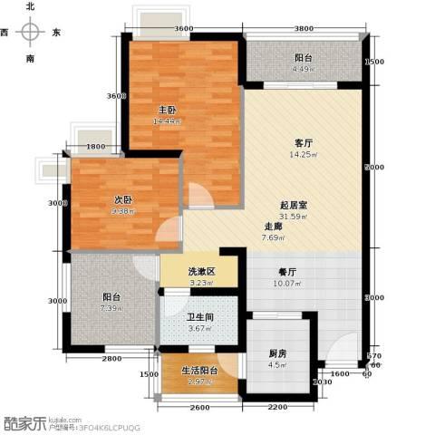 南沙境界・藏峰2室0厅1卫1厨97.00㎡户型图