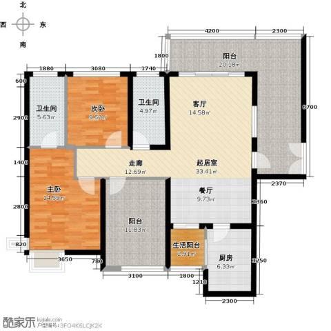 南沙境界・藏峰2室0厅2卫1厨118.00㎡户型图