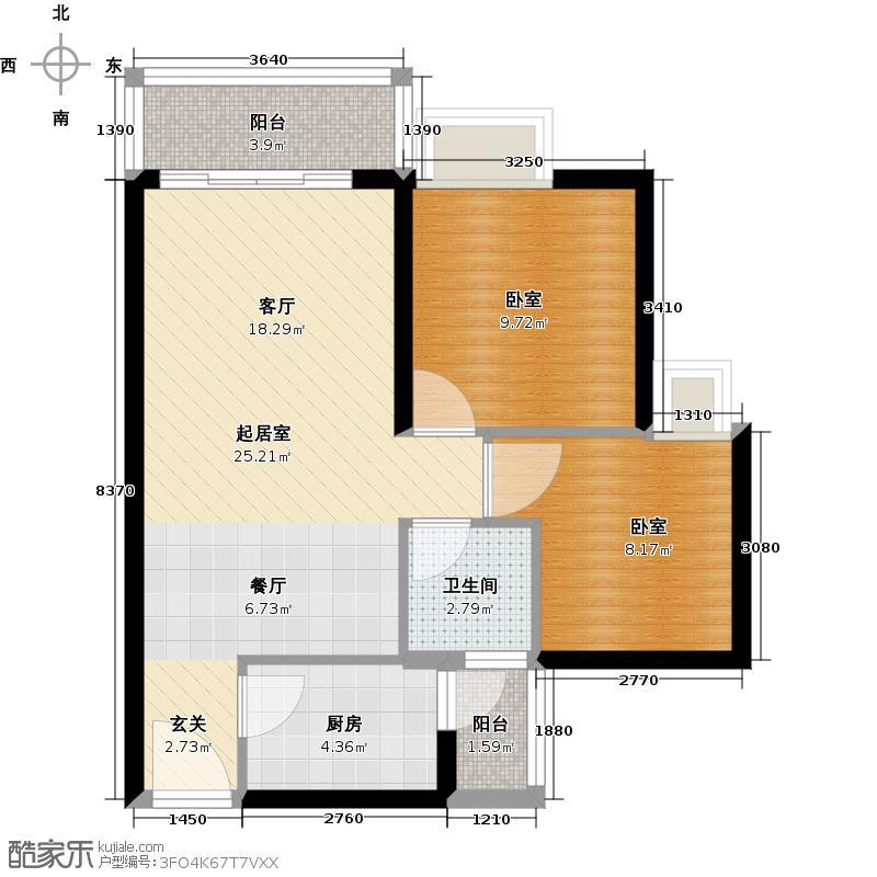 中惠丽阳时代二期64.00㎡户型1卫1厨