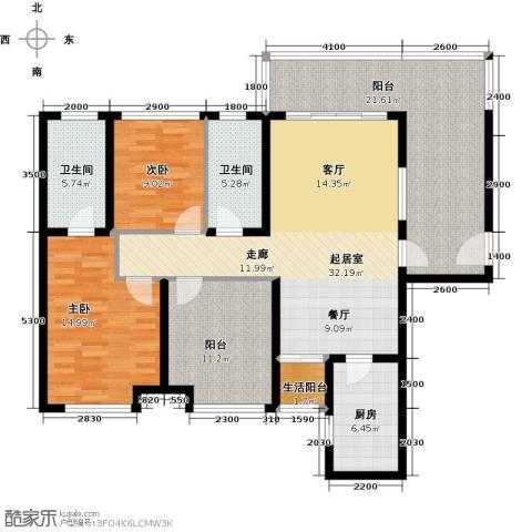 南沙境界・藏峰2室0厅2卫1厨116.00㎡户型图