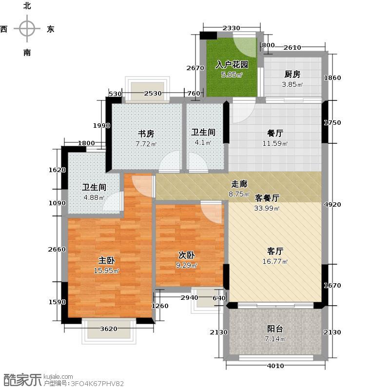 中惠香樟绿洲104.49㎡户型3室1厅2卫1厨
