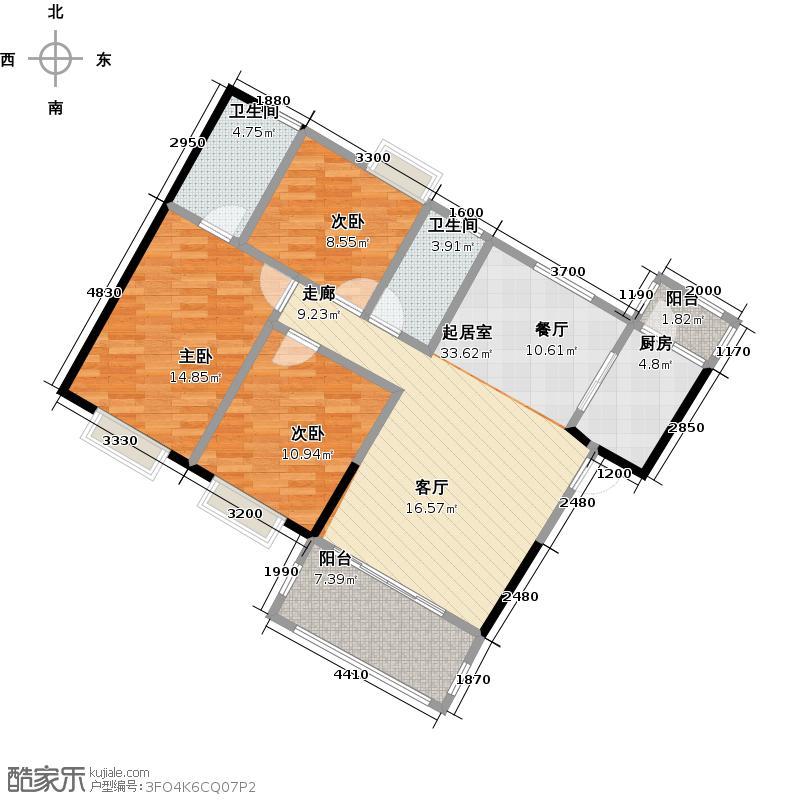 上林一品121.00㎡2栋1座2-18层02单位户型3室2卫1厨