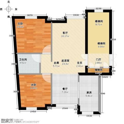 万象新天2室0厅1卫1厨88.00㎡户型图