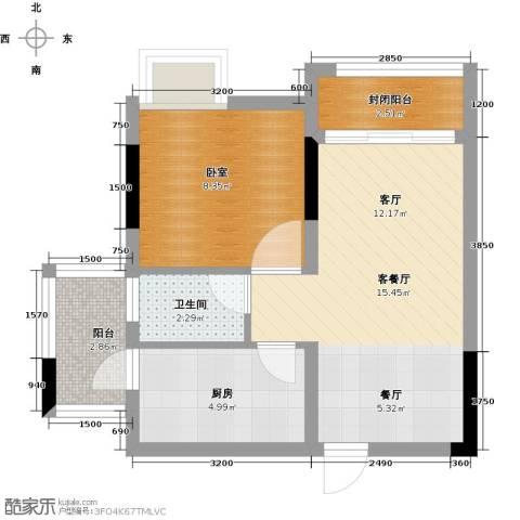 宏远康城国际1厅1卫1厨52.00㎡户型图