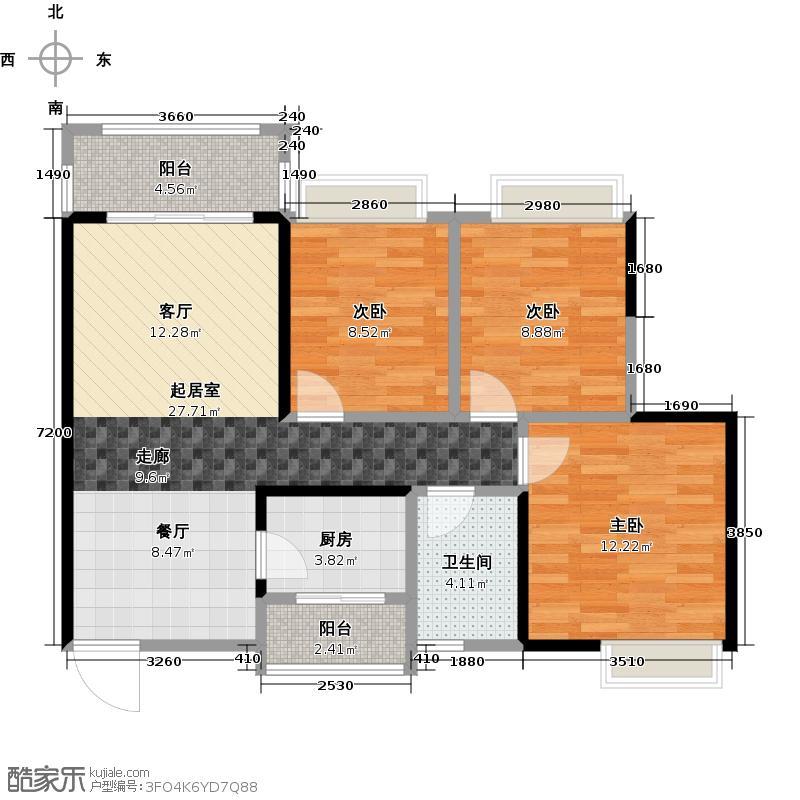 汇景御泉香山91.00㎡71栋1单元01、02户型3室1卫1厨