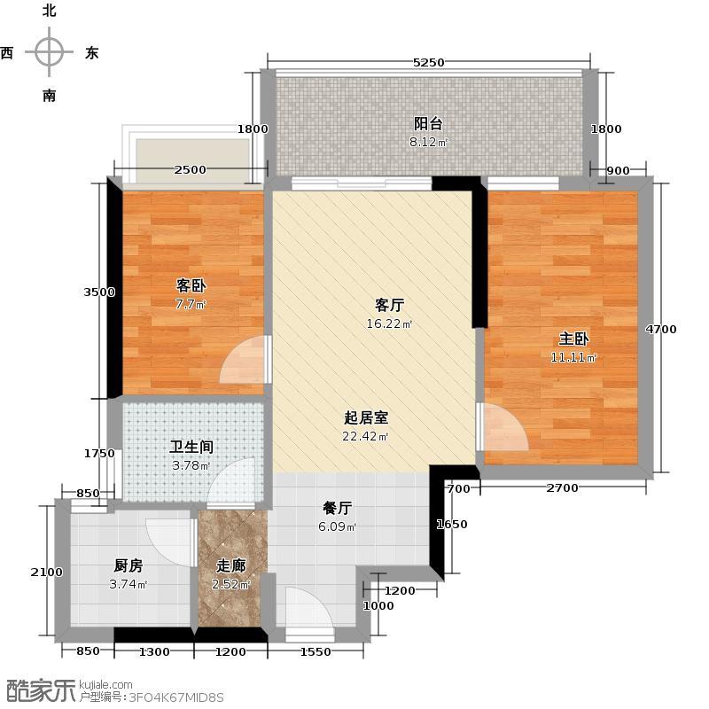 力迅T73.19㎡住宅06单位户型2室1卫1厨