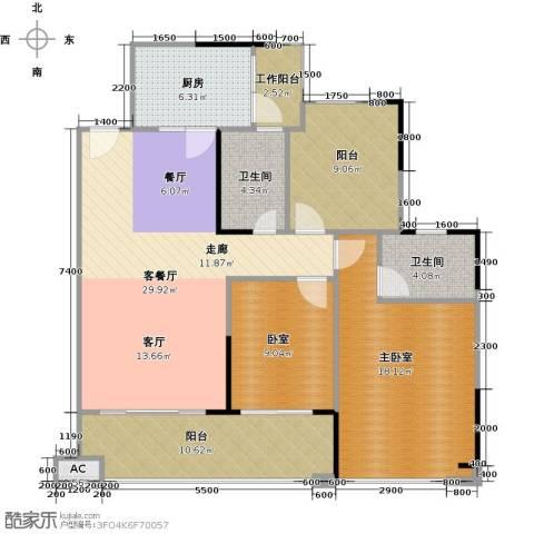 保利红珊瑚1厅2卫1厨103.00㎡户型图