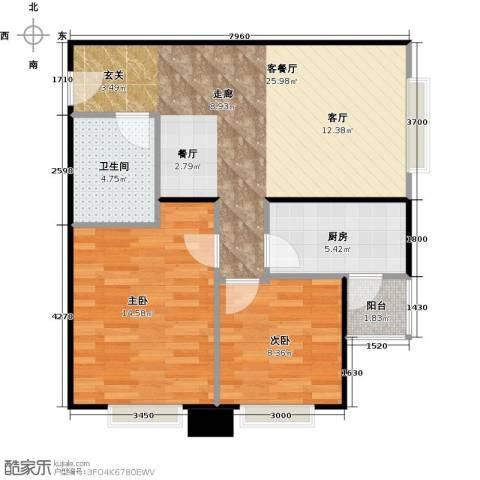 北京明发广场2室1厅1卫1厨65.71㎡户型图