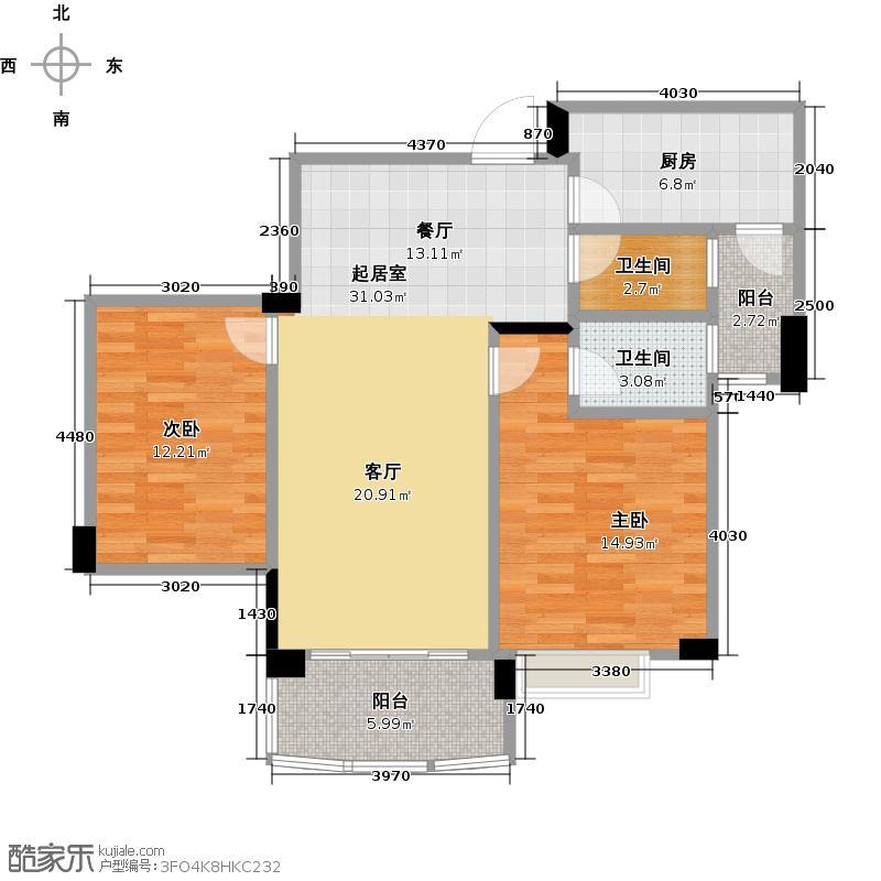 佛山雅居乐花园107.00㎡户型2室2卫1厨