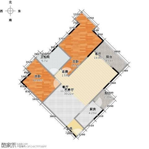 中海金沙苑2室1厅1卫1厨103.00㎡户型图