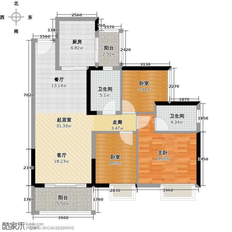 中海橡园国际4.00㎡4栋01户型1室2卫1厨