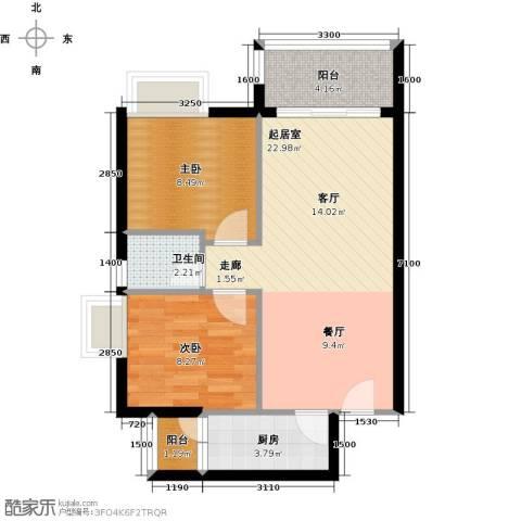 东苑花园2室0厅1卫1厨73.00㎡户型图