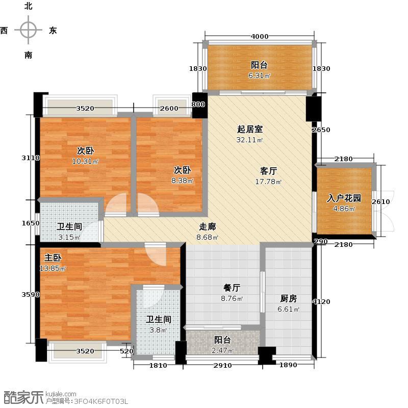 盈拓郦苑104.19㎡户型3室2卫1厨