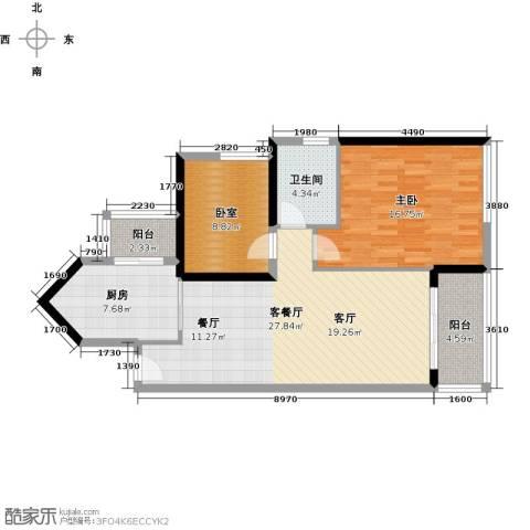 中海橡园国际1室1厅1卫1厨82.00㎡户型图