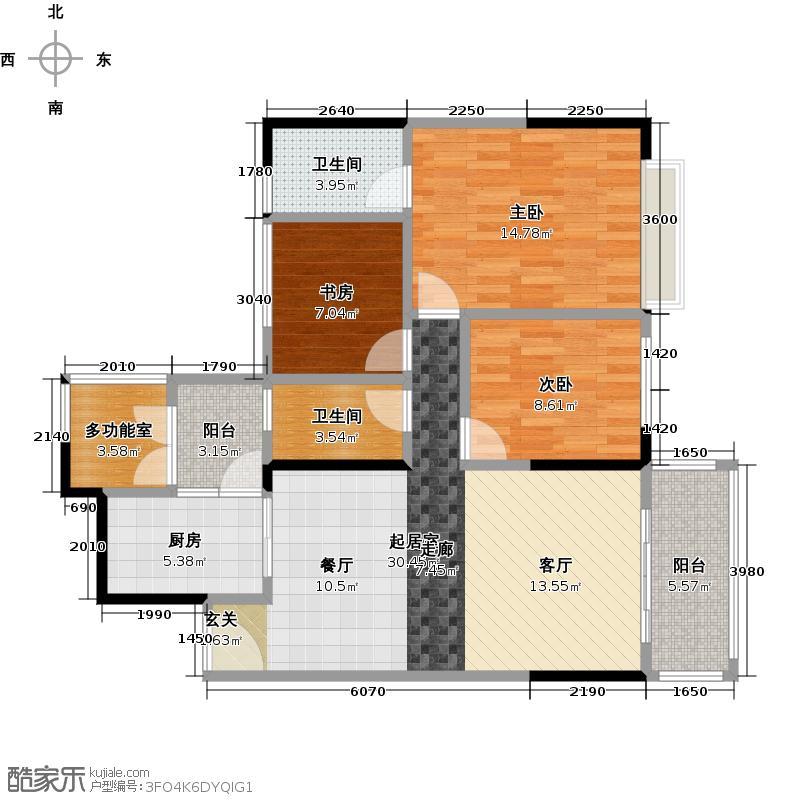 长堤1号99.00㎡131栋02户型3室2卫1厨