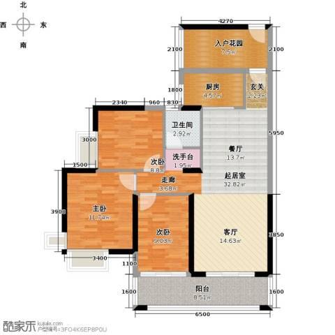 天利中央花园3室0厅1卫1厨123.00㎡户型图