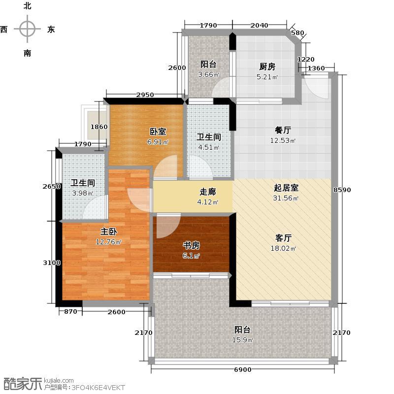 可逸家园102.91㎡4栋3-46-2022-29层02单位户型2室2卫1厨