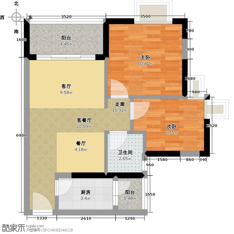 中惠香樟绿洲66.25㎡49、50栋标准层01、06户型2室1厅1卫1厨