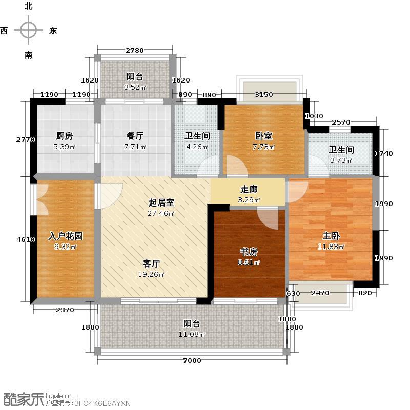 可逸家园108.49㎡4栋5、21层05单位户型2室2卫1厨
