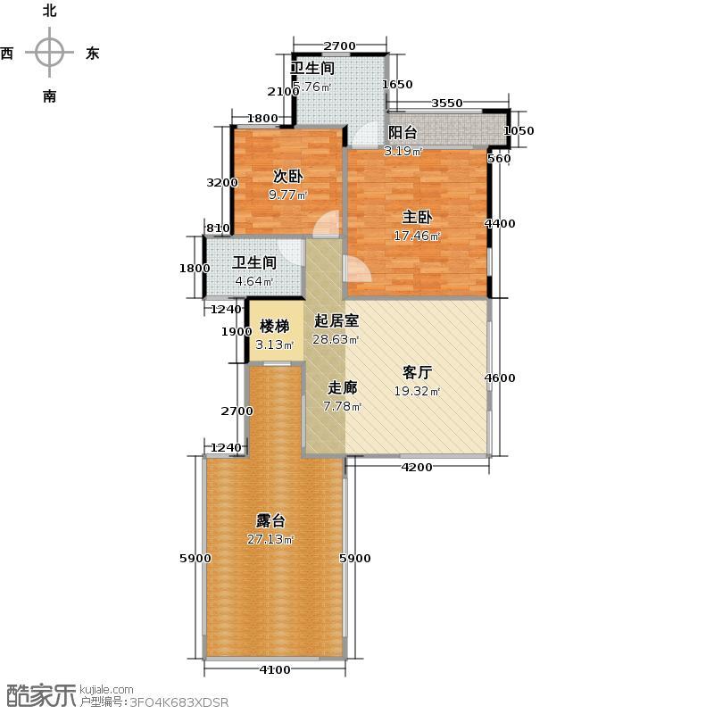 保利生态城109.00㎡43栋D3复式上层户型2室2卫