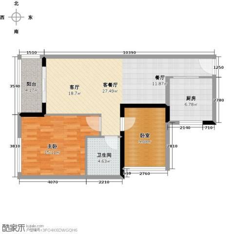 中海橡园国际1室1厅1卫1厨77.00㎡户型图