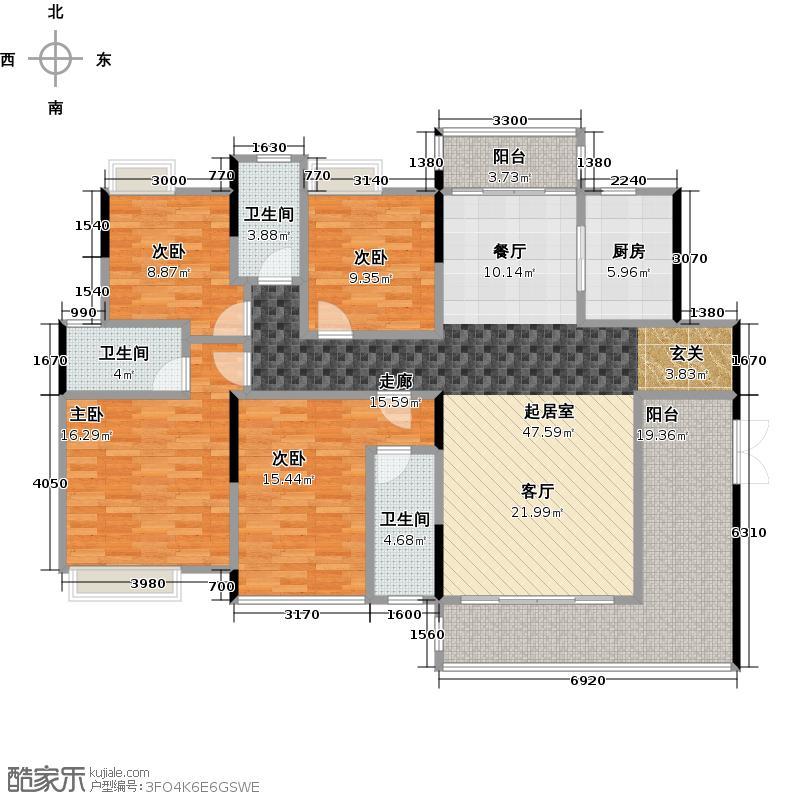 盈拓郦苑155.33㎡3、4栋2-14层01户型4室3卫1厨