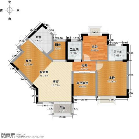 丰泰东海城堡2室0厅2卫1厨98.00㎡户型图