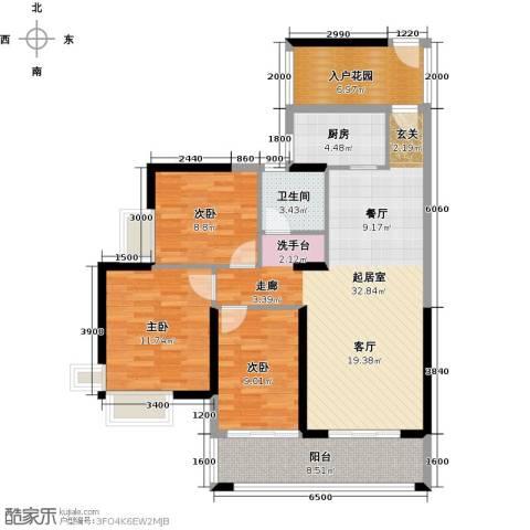 天利中央花园3室0厅1卫1厨122.00㎡户型图