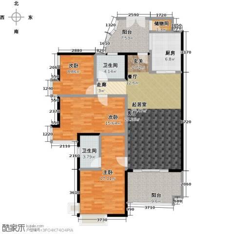 翠屏・瀚宇贵都二期3室0厅2卫1厨128.00㎡户型图